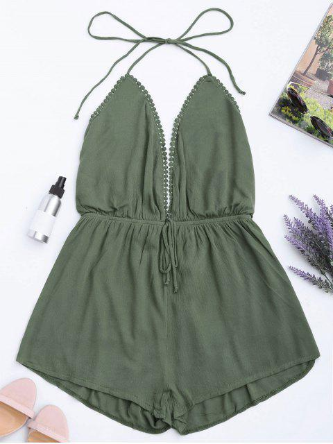 outfits Plunge Halter Beach Cover Up Romper - ARMY GREEN S Mobile