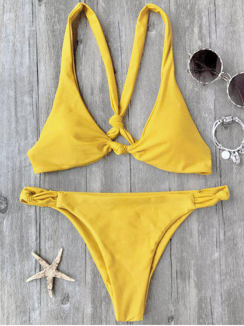 sale Knotted Padded Scoop Bikini Set - YELLOW S Mobile