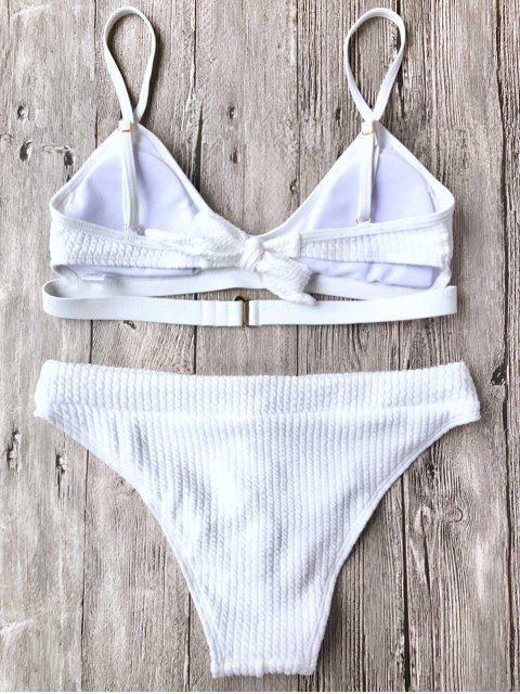 best Ribbed Lace Up Bralette Bikini Set - WHITE M Mobile