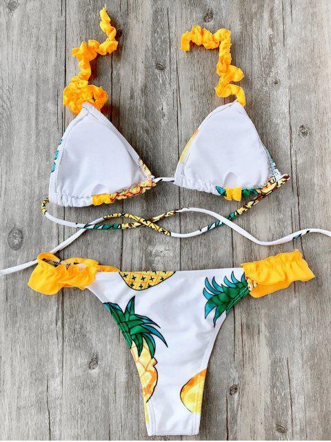 new Frilled Pineapple Print Bikini Set - WHITE L Mobile