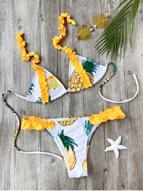 hot Frilled Pineapple Print Bikini Set - WHITE M Mobile