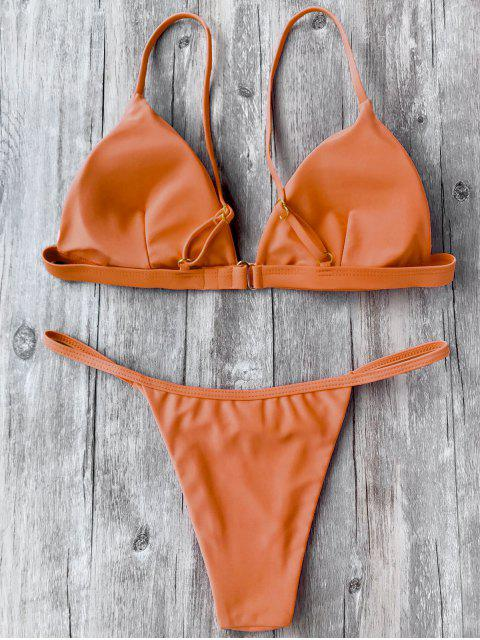 fashion Spaghetti Straps Plunge Thong Bikini Set - ORANGE S Mobile