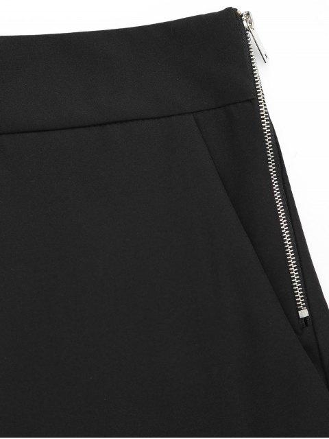 Shorts taille haute avec patch perlé - Noir L Mobile