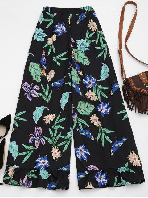 Palazzo weites Bein Hose mit Blumendruck und Rüschen - Blumen M Mobile