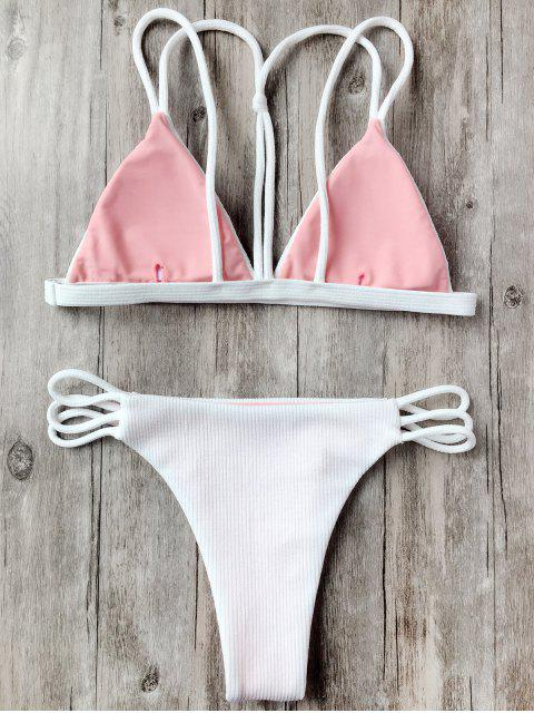 ladies Banded Ribbed Texture Strappy Bikini - WHITE L Mobile