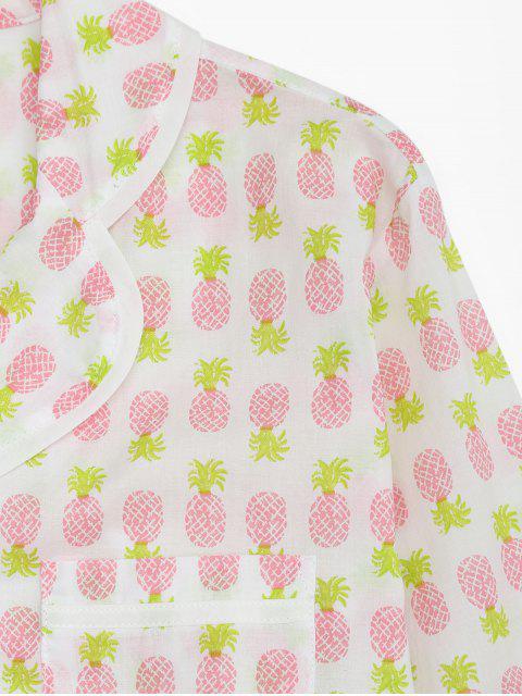 best Pineapple Print Pocket Loungewear Suit - WHITE XL Mobile