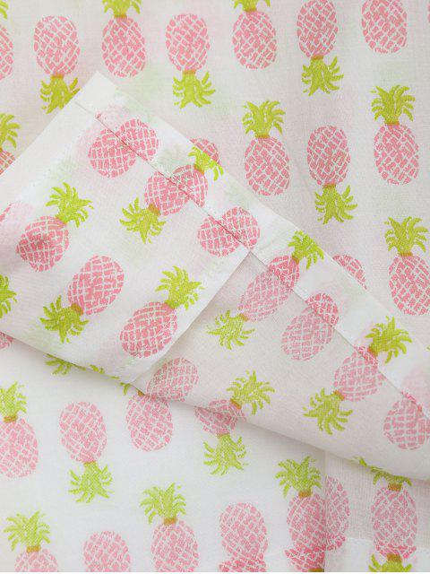 new Pineapple Print Pocket Loungewear Suit - WHITE M Mobile