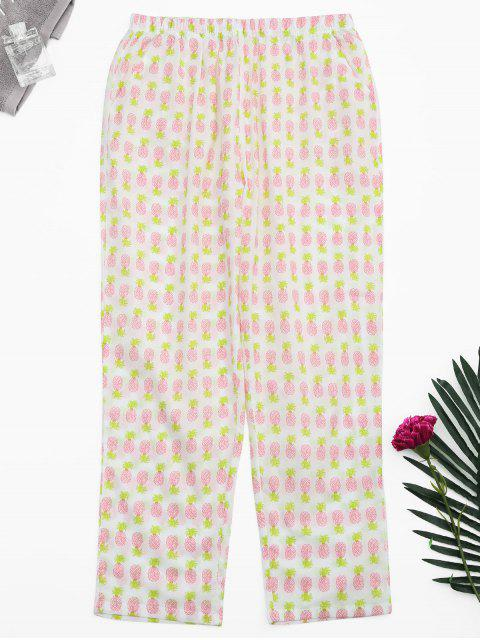 outfit Side Pockets Pineapple Print Loungewear Pants - WHITE XL Mobile