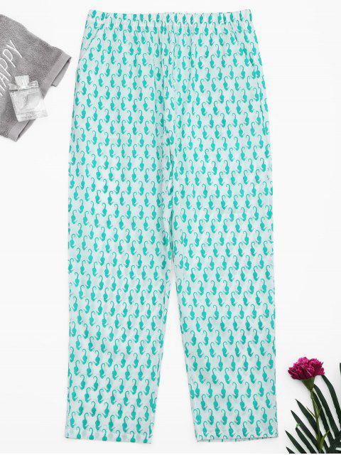 affordable Side Pockets Sea Horse Print Loungewear Pants - WHITE S Mobile
