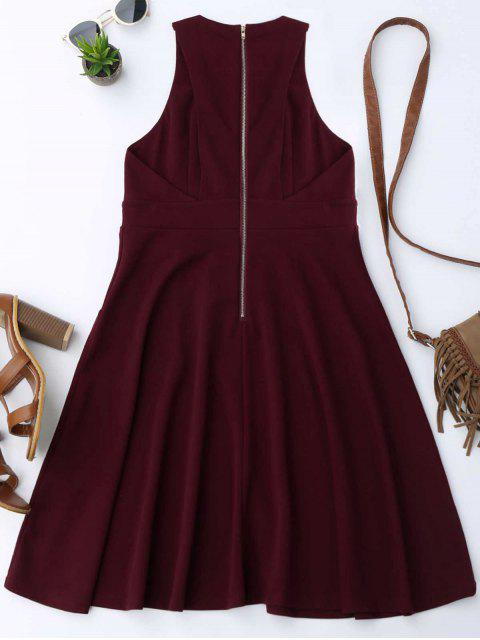 trendy Plunging Neck Sleeveless Flare Dress - WINE RED M Mobile