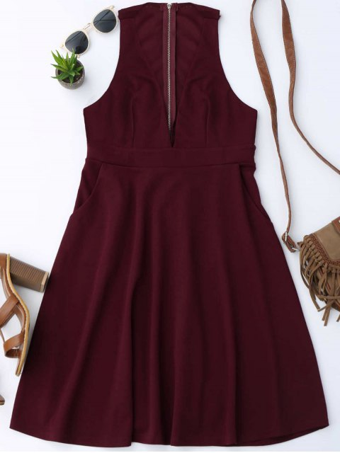 fashion Plunging Neck Sleeveless Flare Dress - WINE RED L Mobile