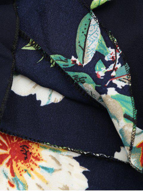 Off The Shoulder Floral Print Ruffled Romper - Bleu Violet TAILLE MOYENNE Mobile