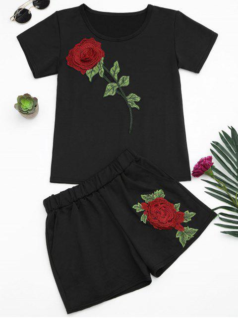 ladies Floral Patched Tee and Shorts Set - BLACK M Mobile