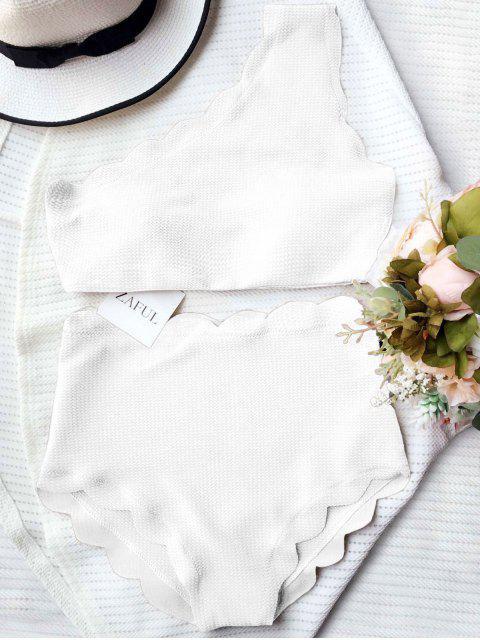 chic High Waisted Scalloped One Shoulder Bikini - WHITE S Mobile