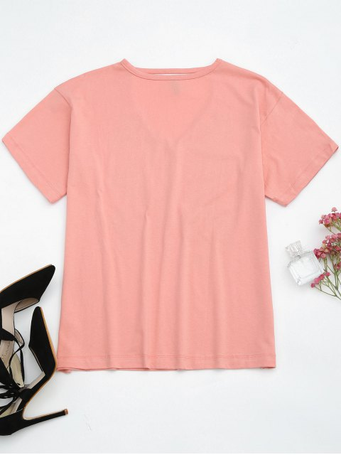 new Cotton Graphic Choker T-Shirt - PINK M Mobile