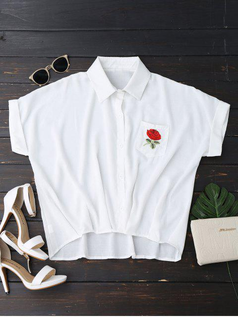 outfit Button Up Floral Patched Pocket Blouse - WHITE ONE SIZE Mobile