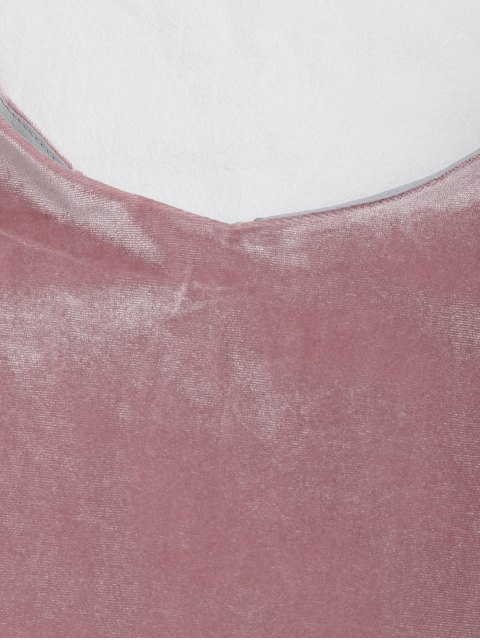 women's Loose Spaghetti Straps Velvet Tank Top - PINK M Mobile