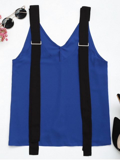 outfits Two Tone Chiffon Tank Top with Straps - BLUE AND BLACK S Mobile
