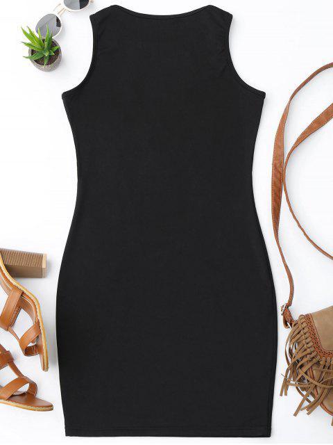 fashion Floral Patched Fishnet Bodycon Dress - BLACK M Mobile