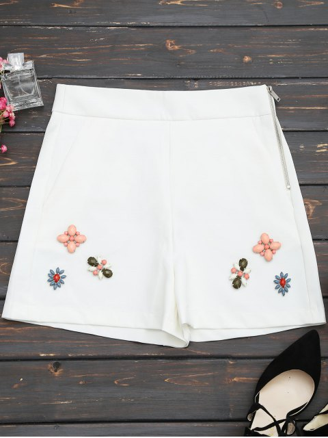 affordable High Waisted Beading Patched Shorts - WHITE L Mobile