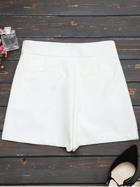 Shorts taille haute avec patch perlé - Blanc L Mobile