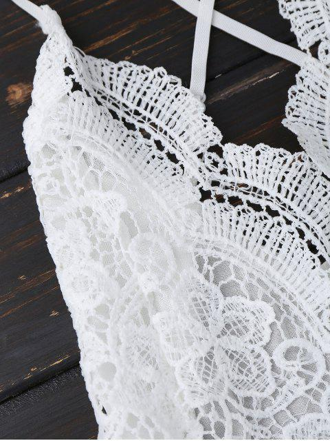 shop Lace Panel Open Back Cami Romper - WHITE S Mobile