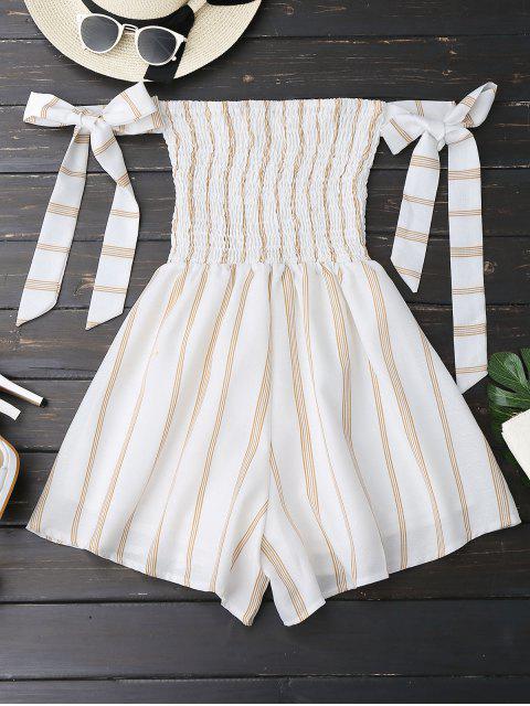 fancy Self Tie Strapless Striped Romper - WHITE L Mobile