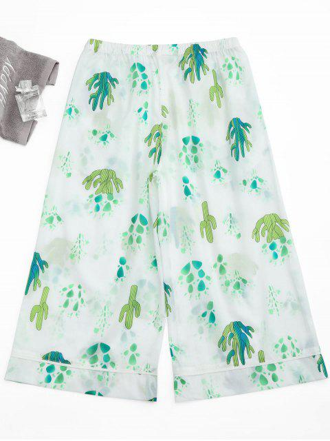 ladies Wide Leg Cactus Print Capri Loungewear Pants - WHITE M Mobile