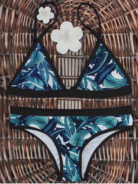 trendy High-Cut Leaf Print Bikini Set - BLACK AND GREEN S Mobile