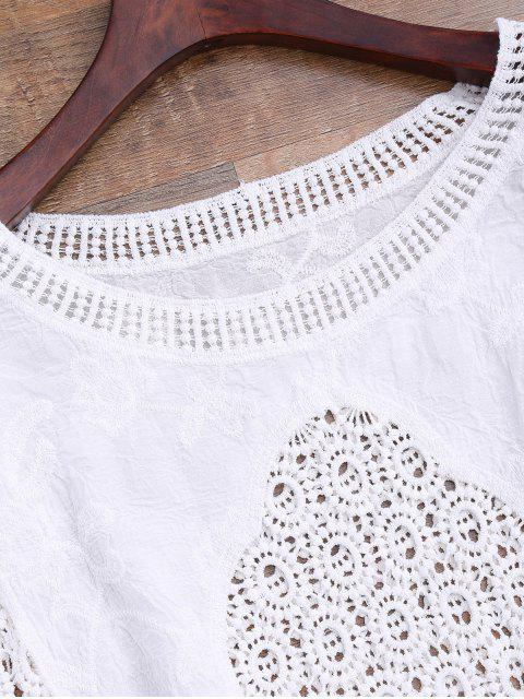 fashion Batwing Crochet Panel Cover Up - WHITE ONE SIZE Mobile