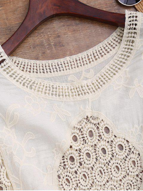 chic Batwing Crochet Panel Cover Up - BEIGE ONE SIZE Mobile