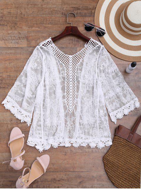affordable Sheer Open Front Crochet Cover Up - WHITE ONE SIZE Mobile