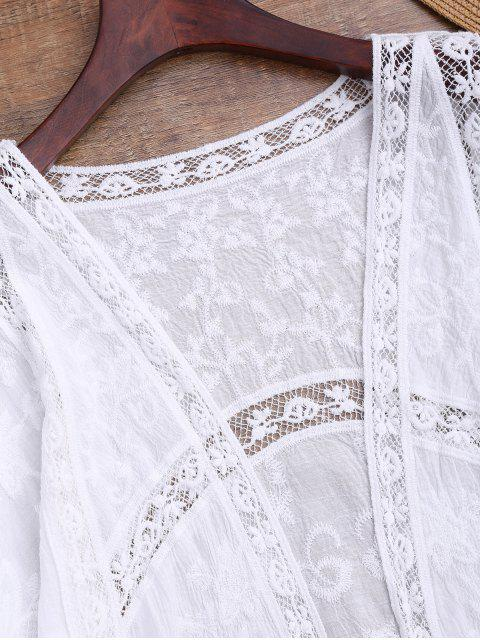 buy Crochet Panel Open Front Embroidered Cover Up - WHITE ONE SIZE Mobile