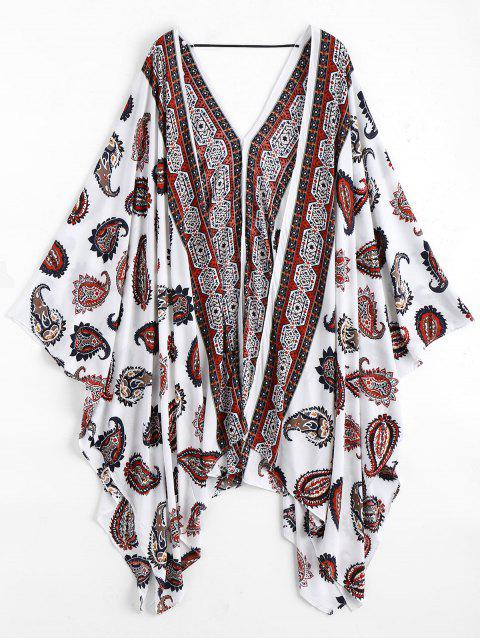 womens Paisley Kimono Cover Up - WHITE ONE SIZE Mobile