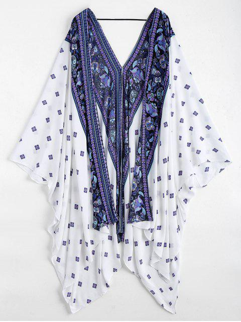 women's Batwing Paisley Patterned Kimono Cover Up - WHITE ONE SIZE Mobile