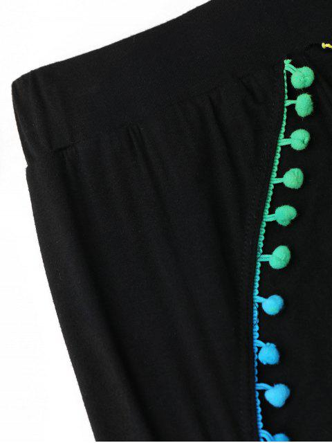 outfit Pom Embellished Tulip Cover Up Pants - BLACK S Mobile