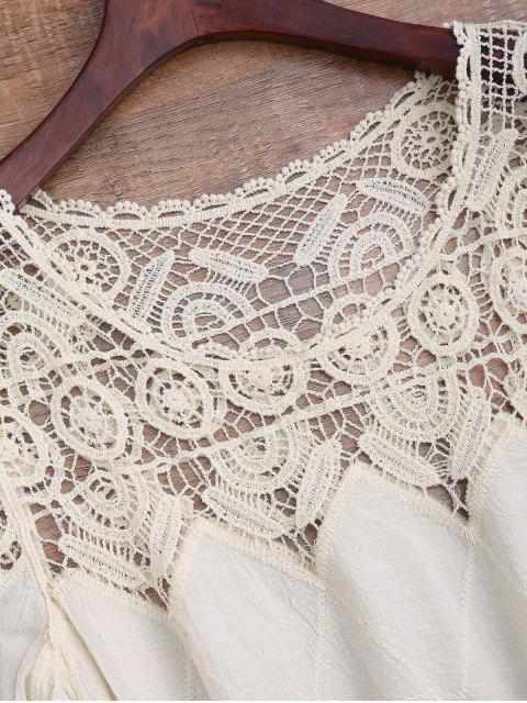 shop Hollow Out Crochet Panel Cover Up Dress - OFF-WHITE ONE SIZE Mobile