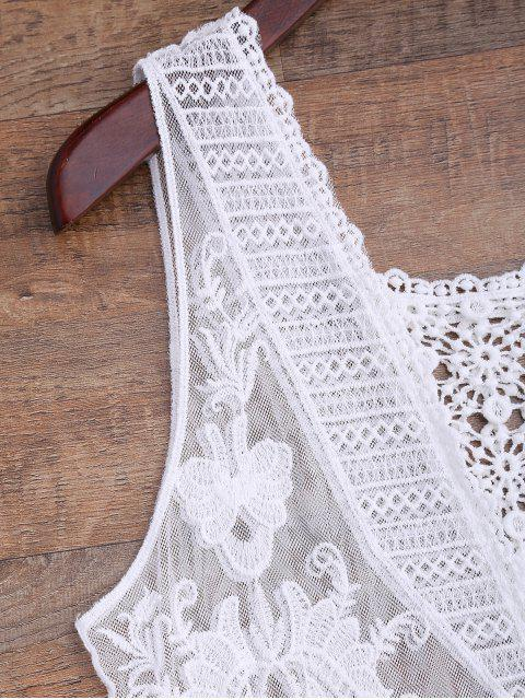 shops Crochet Panel Square Neck Sheer Cover Up Dress - WHITE ONE SIZE Mobile