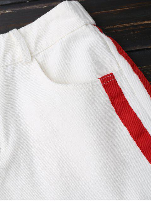 Shorts denim rayés - Blanc M Mobile
