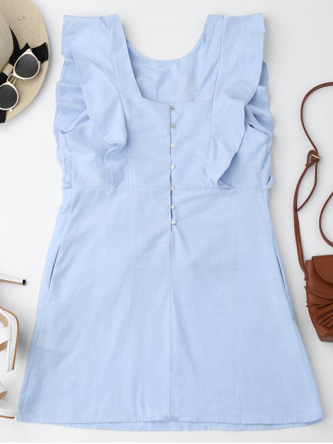 outfits Ruffles Half Buttoned Embroidered Mini Dress - LIGHT BLUE S Mobile
