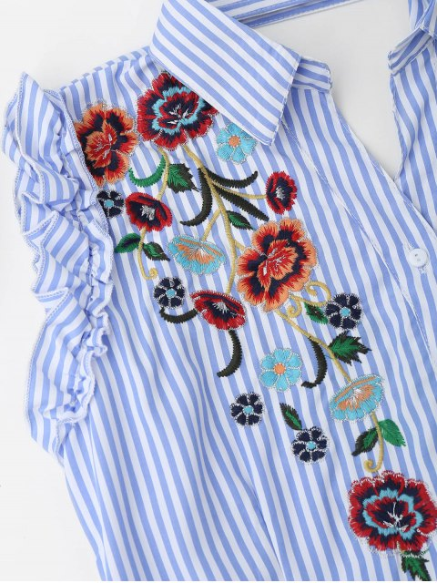fashion Floral Embroidered Ruffles Cut Out Shirt Dress - LIGHT BLUE S Mobile