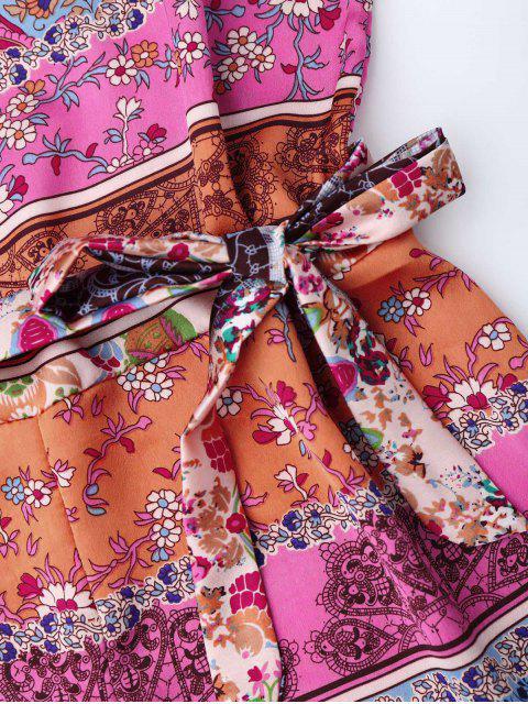 Floral Print Belted Cami Romper - Floral S Mobile