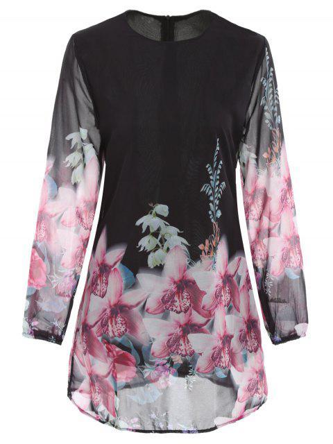 fashion Printed Chiffon Long Sleeves Round Collar Dress - BLACK L Mobile