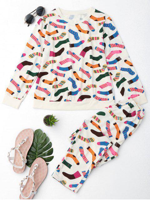 Lindo calcetines Imprimir camiseta con pantalones - Palomino 2XL Mobile