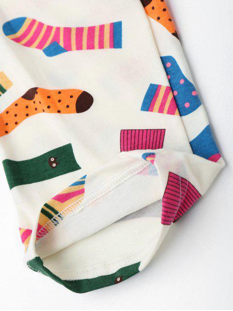 best Cute Socks Print T-Shirt with Pants - PALOMINO M Mobile