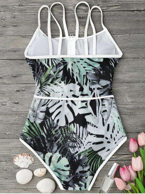 outfit Piping Tropical Print One Piece Swimsuit - WHITE AND GREEN L Mobile
