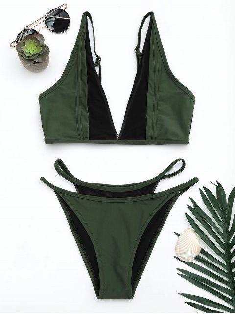 women Mesh Panel High Cut Bikini Set - BLACKISH GREEN XL Mobile