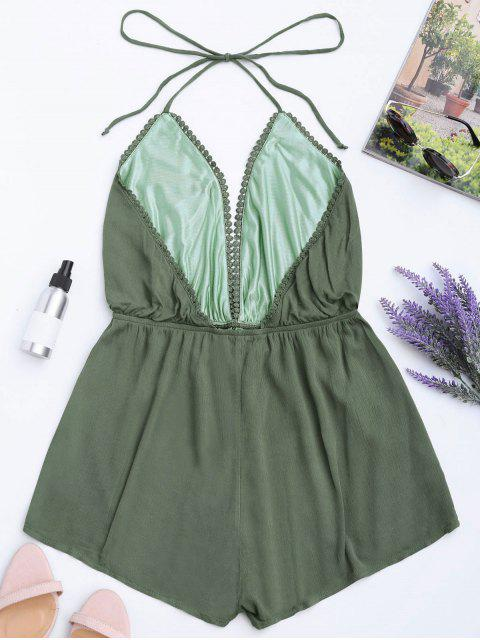outfit Plunge Halter Beach Cover Up Romper - ARMY GREEN M Mobile
