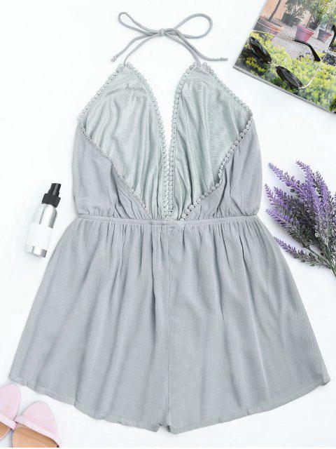 latest Plunge Halter Beach Cover Up Romper - GRAY S Mobile