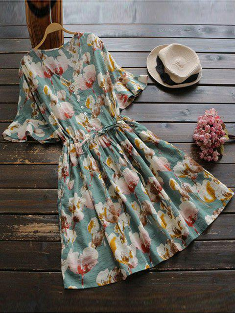 fancy Floral Print V Neck Drawstring Dress - FLORAL ONE SIZE Mobile